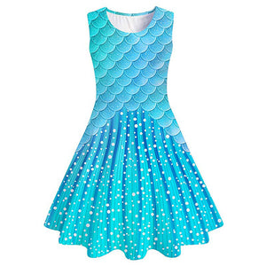 Kids Girls Printed Mermaid Fish Scale Sundress