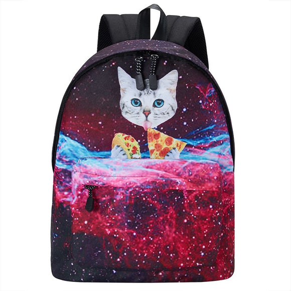 School Bag for Boys Girls Pizza Cat Printed Backpacks