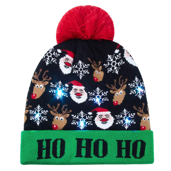Raisevern Warm Christmas Hats Knitted Cap HO HO HO Printed LED Light Up Beanie for Xmas Party Gifts