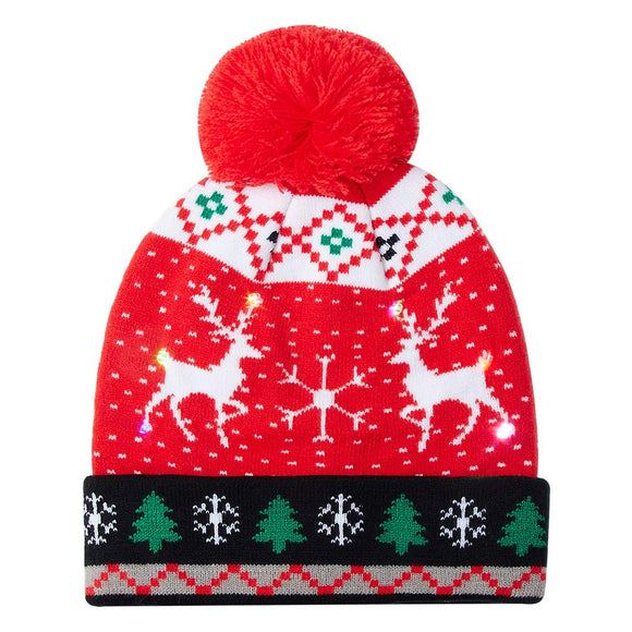 Men Women Sika Deer Printed Red Knitted Light Hat Cuff Knit Pom Cap