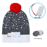 2019 Womens Mens Funny Led Light Knitted Christmas Hat Reindeer Pattern Holiday Xmas Beanie