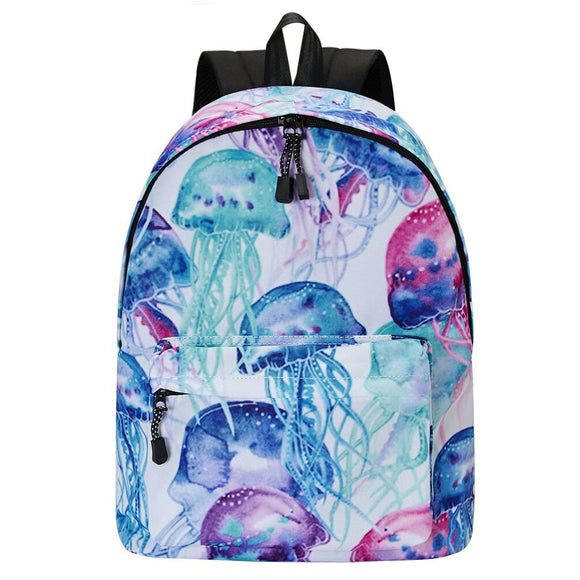 Backpack for School for Girls Student Bookbags Women Daypack Jellyfish Pattern