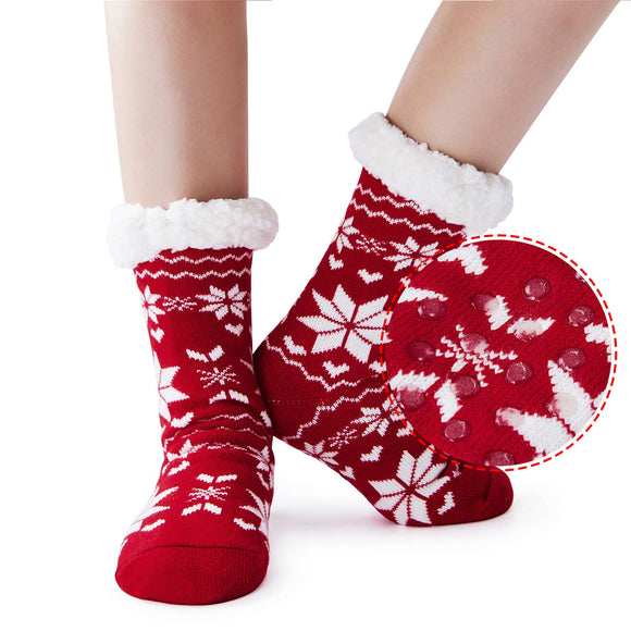 2019 Womens Girls Christmas Socks Super Soft Non Skid Fleece Lining Warm Fuzzy Snowflake Slipper Socks