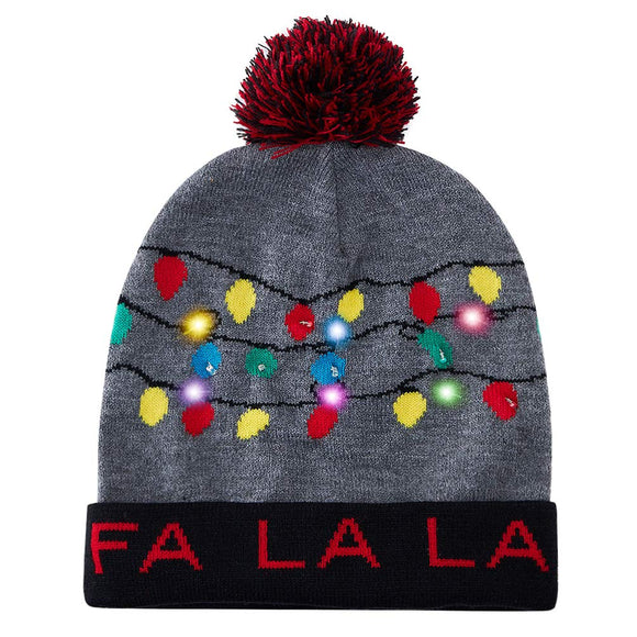 2019 Christmas Caps for Men Women FA LA LA Ugly Knitted Beanie Grey Hats with Colorful Lights