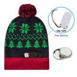 Flashing Light Christmas Xmas Black Hat with Lights Knitted Light Hat for Party