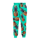 Mens Jogger Pants 3D Printing Green Glasses Pineapple Pattern