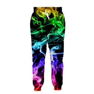 Mens Jogger Pants 3D Printing Multicolored Smoke Pattern Trousers