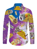 Mens Galaxy Taco Cat Printed Long Sleeve Shirt
