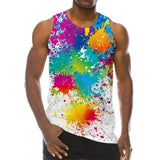 Mens Tank Tops 3D Printing Colorful Paint Printed Vest