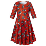 uideazone Little Girls Novelty Cute Dinosaur Fossil 3/4 Sleeve Dress for Halloween Dress up Witches Playwear