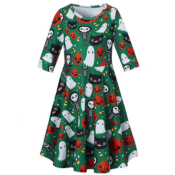 Kids Girls Printed Cute Skull Pumpkin Ghosts Sundress