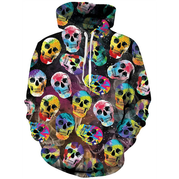 Mens Hoodies 3D Printing Skeleton Printed Pattern Hooded
