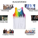 Mens Tank Tops 3D Printing Funny Colorful Printed Vest