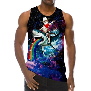 Mens Tank Tops 3D Printing with Cat Shark Printed Pattern