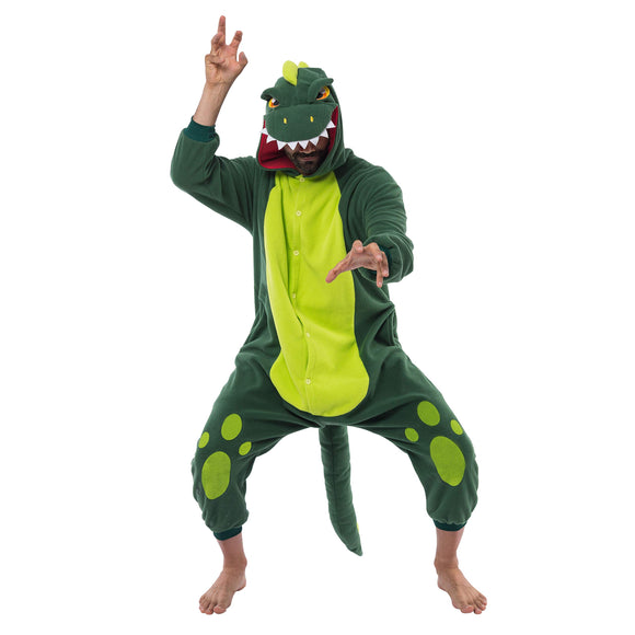 Unisex Adult Pajama Plush Onesie One Piece Dinosaur Animal Costume