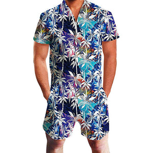 Rompers for Men Male Floral Print Hawaiian Jumpsuits
