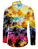 Mens Tropical Scene Printed Long Sleeve Shirt