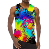 Mens Tank Tops 3D Printing Multicolored Inkjet Pattern