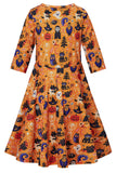 Girls Halloween Pumpkin Cats Ghost Printed Dress