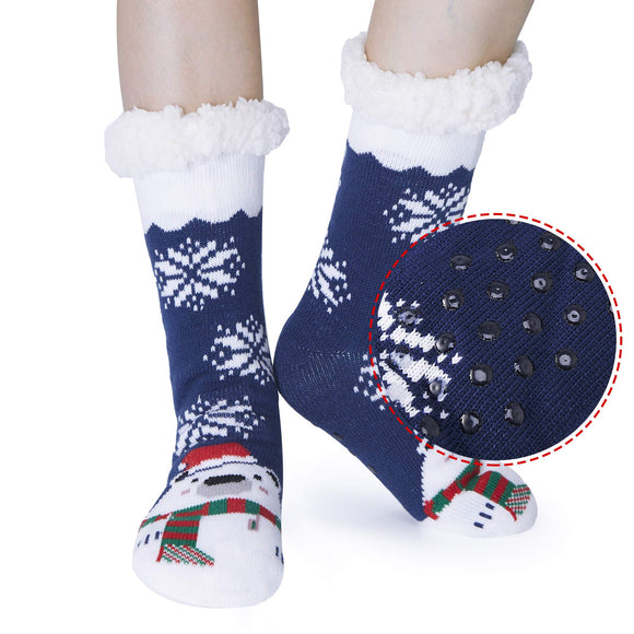2019 Womens Girls Snow Bear Super Soft Non Skid Fleece Lining Warm Fuzzy Snowflake Slipper Socks