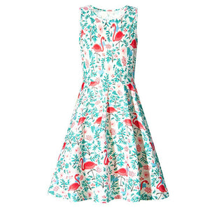 Kids Girls Printed Flamingos Floral Sundress