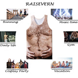 Mens Tank Tops 3D Printing Chest Body Printed Vest