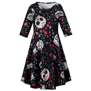 Girls Princess Skull Printed Halloween Dress