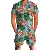Mens Romper Floral Tiger Pattern Jumpsuits