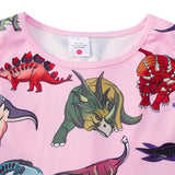 Girls Holiday Pink Dinosaur Print Dress