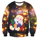 Mens Pullover Sweatshirt 3D Printed Christmas Cute Santa Claus Long Sleeve Shirts