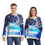 Mens Pullover Sweatshirt 3D Printed Christmas Elk Pattern Long Sleeve Shirts
