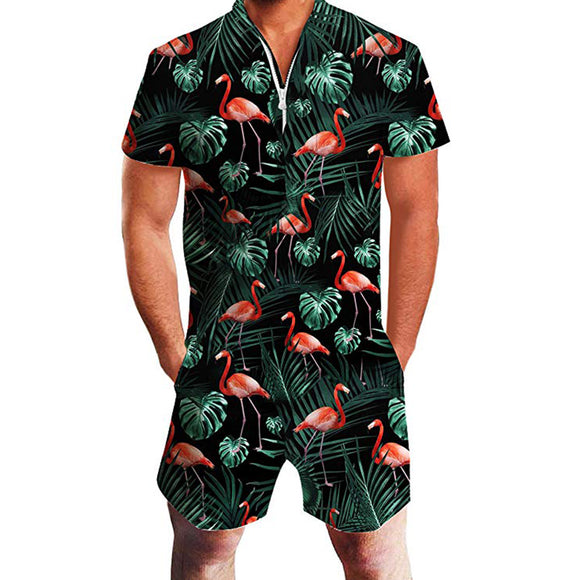 Mens Rompers Flamingo Printing One Piece Jumpsuit Overalls