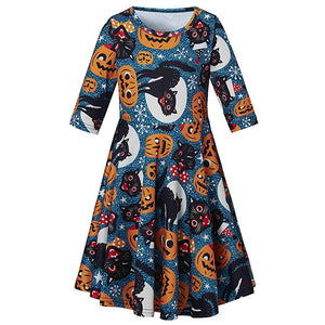 Little Girls Novelty Halloween Pumpkin Cats Dresses