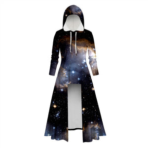 Womens Long Hoodies 3D Graphic Printed Starry Sky Pullover Sweater Dress