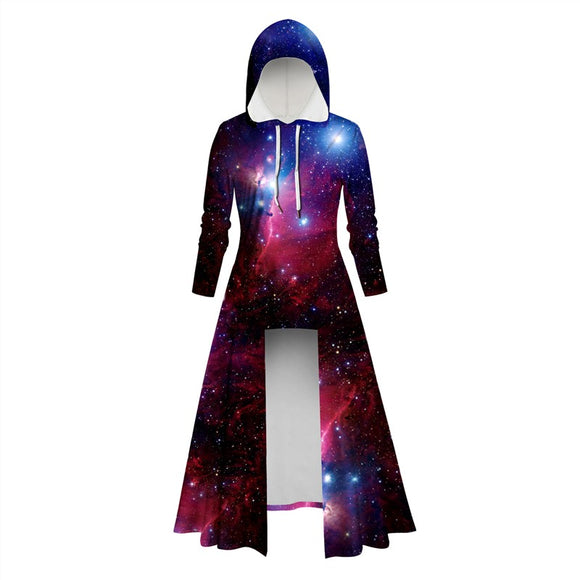 Womens Long Hoodies 3D Graphic Printed Purple Starry Sky Pullover Sweater Dress