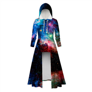 Womens Long Hoodies 3D Graphic Printed Colorful Galaxy Pullover Sweater Dress