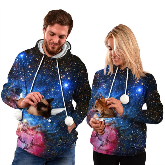 Mens Womens Hoodies Galaxy Pullovers with Pet Cuddle Pouch Bag