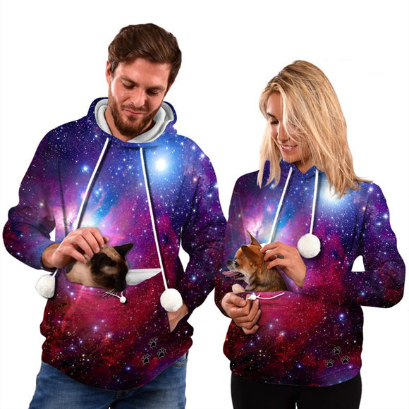 Mens Womens Hoodies Galaxy Pullovers with Cat Dog Cuddle Pouch Bag