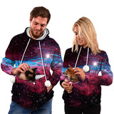 Mens Womens Hoodies Galaxy Pullover with Cat Dog Cuddle Pouch Bags