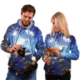 Mens Womens Hoodies Galaxy Pullovers with Cat Dog Cuddle Pouch Bags