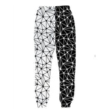 Mens Jogger Pants 3D Printing Black White Line Trousers