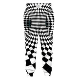 Mens Jogger Pants 3D Printing Black White Plaid Trousers