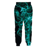 Mens Jogger Pants 3D Printing Green Smoke Black Trousers