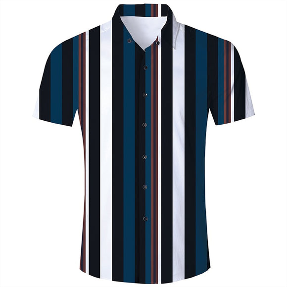 Men's Hawaiian Short Sleeve Shirts Stripe Printing