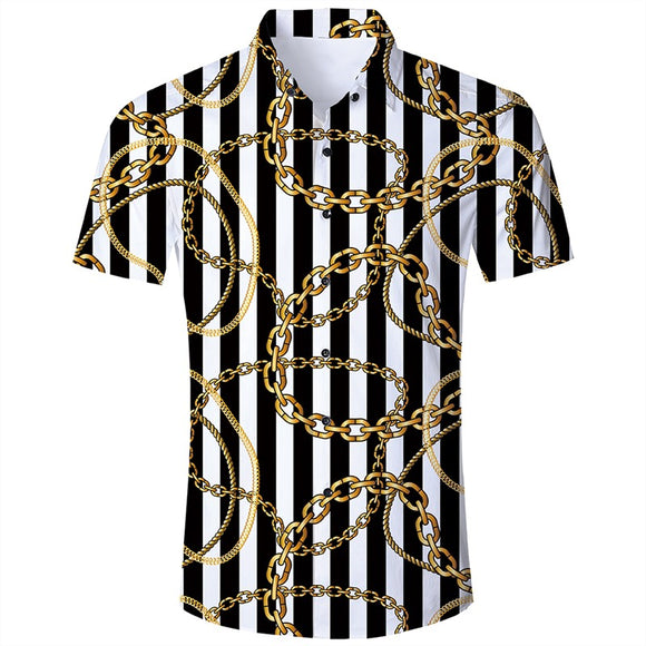Men's Hawaiian Short Sleeve Shirts Gold Chain Printing