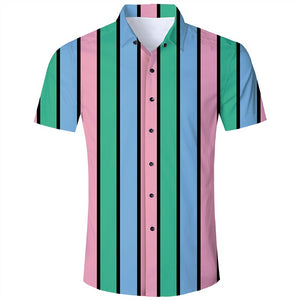 Men's Hawaiian Short Sleeve Shirts Green Pink Stripes Printing