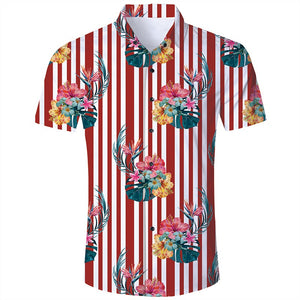 Men's Hawaiian Short Sleeve Shirts Red Stripes Floral Print