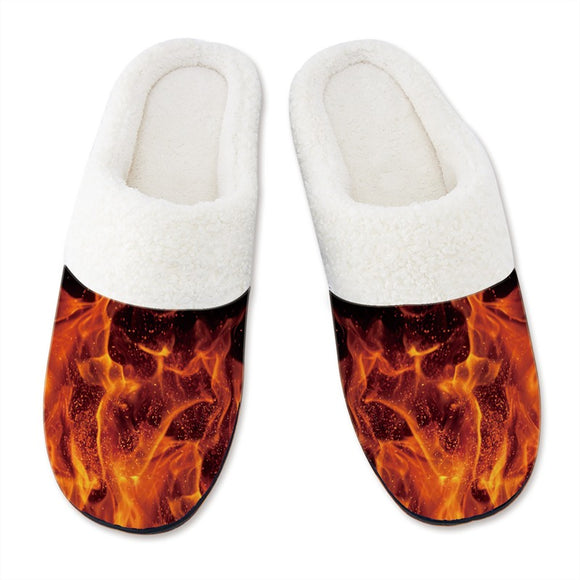 Men's Slippers 3D Printing Fire Smoke Pattern Slipper for Mens