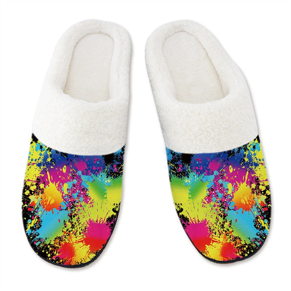 Men's Slippers 3D Printing Tie Dye Pattern Black Slipper for Mens
