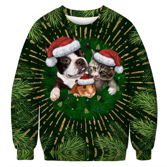 Mens Pullover Sweatshirt 3D Printed Christmas Animal Party Green Long Sleeve Shirts